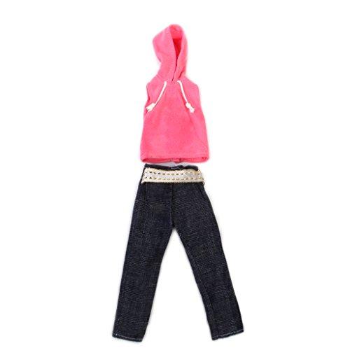 Preisvergleich Produktbild Puppe Kleidung Freizeitkleidung Fuer Barbie Ken - Pink aermellose T-Shirt Mit Hut Und Hose