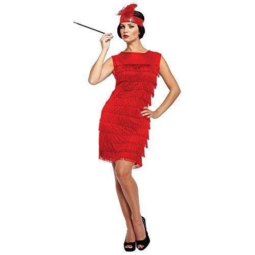Femme Des Années 30 Costume Sexy - Robe Charleston (Rouge) - Taille Unique