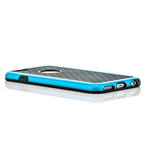 Saxonia Hülle + Panzerglas Apple iPhone 6 / 6S Case Silikon Slim Cover Diamond Design Silikonhülle Rot Blau + Panzerglas
