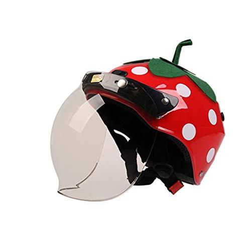 WXAD Nettes Erdbeermotorrad-Kinderhelm-Mädchen Vier Jahreszeiten im Freien Universalsturzhelm, (Color : Strawberry Brown Lens)