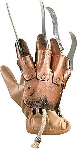 Rubie's Official Men's Deluxe Freddy Glove Fancy Dress - Silver/Brown - Freddy Krueger Metallo Guanto