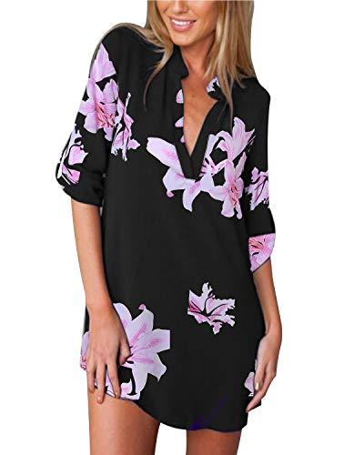Floral-design-t-shirt (ZANZEA Damen V-Ausschnitt Chiffon Langarm Bluse Oversize Blumen T-Shirt Lose Tops 01-schwarz1 EU 46/US 14)