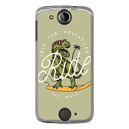BJJ SHOP Transparent Hülle für [ Acer Liquid Jade S ], Flexible Silikonhülle, Design: Dinosaurier mit Sonnenbrille Surfen, Ride