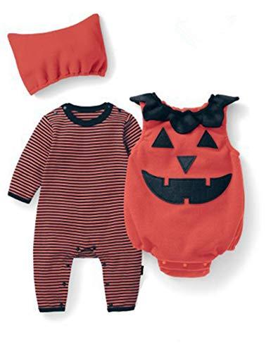 Tkiames bambino inverno zucca halloween pagliaccetto neonato body costume abiti 3 pz (6-9 mesi, orange2)