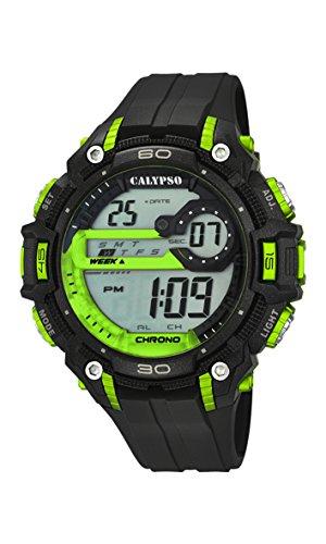 Calypso-Orologio digitale Unisex, con Display LCD digitale e cinturino in plastica, colore: nero, 4 K5690