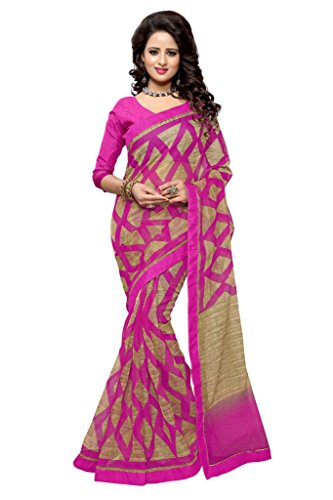 SOURBH Women's Art Silk (Super Net) Geometric Printed Saree (2355_Magenta)  available at amazon for Rs.695
