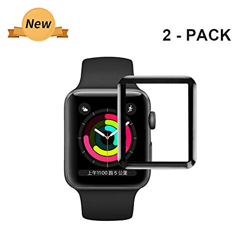 Bottom Kompatibel für Apple Watch 38mm Schutzfolie Series 3 Bildschirmschutz Glas Folie iWatch 38mm Series 3 Glasfolie Screen Protector 9H HD Tempered Glass Film für iWatch 38mm-2 Stück