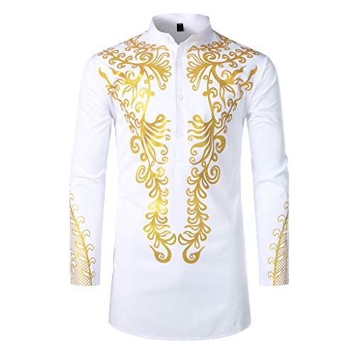NPRADLA Herrenhemd Langarm Regular Fit Print Afrika Sommer Boho Weiß Schwarz Pullover Stehkragen Basic T Shirt Herren Bluse Tops