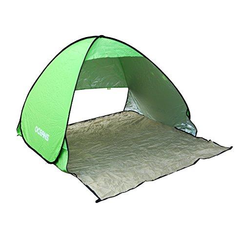Ocean 5 Strandmuschel Sunpro 500 Ideal für Den Strand, Garten, Park mit Pop-up Funktion, Farne: Grün
