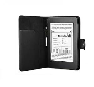 Buch-Art-Ledertasche-Hülle mit Magnetverschluss für das NEUE Amazon Kindle Paperwhite 15 cm/6 Zoll Display - (Schwarz gefärbt)