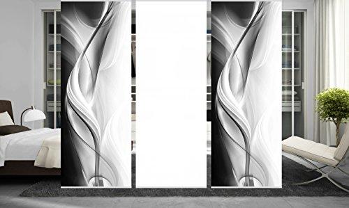wohnfuehlidee 3er Set Raumteiler Deko blickdicht JANKA grau, Höhe 245 cm, 2x Dessin/1x weiß -