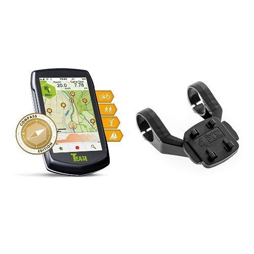 TEASI one³ eXtend Outdoor-Navigationsgerät & TAHUNA Fix-Dual Original  Vorbau Fahrradhalterung für Teasi one / one² / one³ / one³ extend / Pro / Core / SMART.T Power , schwarz