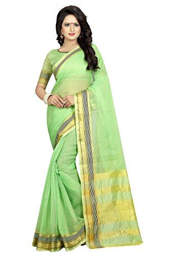 PerfectBlue Cotton Silk Saree With Blouse Piece(Lightgreenmagicpallu_Lightgreen Free Size)