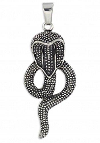 ASA grande ciondolo a forma di serpente in acciaio inox, Cobra, annerito viennagold