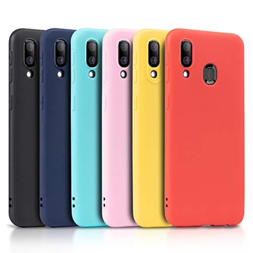 Wanxideng - 6X Cover per Samsung Galaxy A40, Custodia Morbido Opaco in Silicone TPU - Matt Silicone Case [ Nero + Rosso + Blu Scuro + Rosa + Verde Menta + Giallo ]