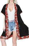 LA LEELA Copricostume Mare Cardigan Donna Taglie Forti- Vintage Rayon Estivo Scialle Elegante Solido Kimono Vestito Corto Estate Boho Tunica Etnica Abito da Spiaggia Nero_X802