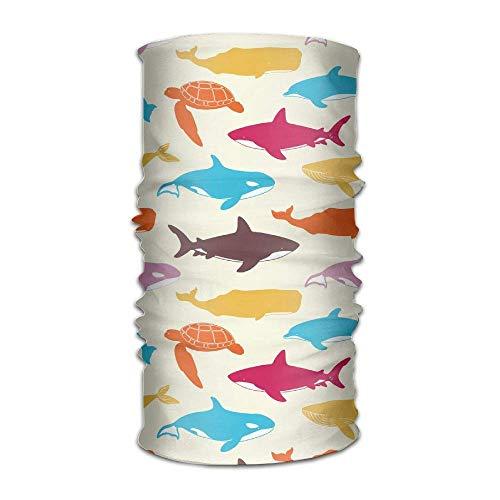 FAFANIQ Atlantic Shark Turtle Unisex Breathable Headband Bandanas Headwear Balaclava Neck Gaiter Magic Scarf UV Protection for Daily Activities