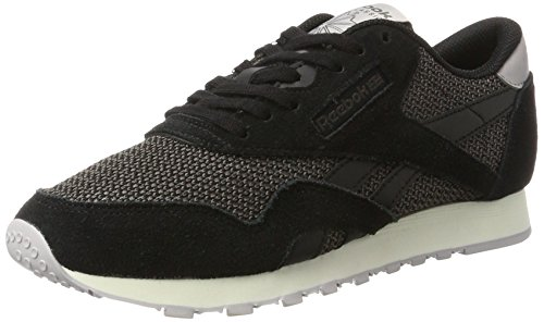 Reebok Damen Classic Nylon Breathability Sneaker Schwarz (Black/Urban Grey/WHISPER Grey/Chalk)