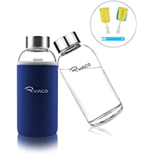 Ryaco Botella de Agua Cristal 360ml, Botella de Agua Reutilizable 12 oz, Sin BPA