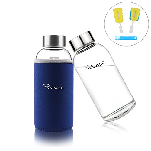 Ryaco Botella de Agua Cristal 360ml, Botella de Agua Reutilizable 12 oz, Sin BPA Antideslizante Protección Neopreno Llevar Manga con Acero Inoxidable Tapas Elegante de Borosilicato Botella, Zafiro