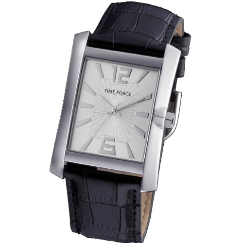 Montre Time Force de Chevalier. Acier Bracelet en cuir Cadran argenté. tf-3322m02