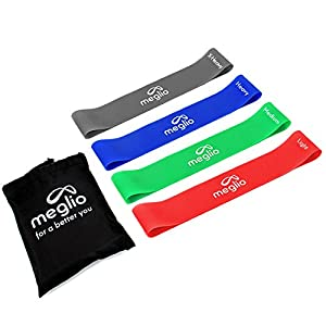 Latex Free Resistance Bands Loops - Set of 4 Premium Fitness Exercise Bands for Fitness Workouts Rehabilitation Yoga Pilates and Strength Training - Includes Exercise Guides