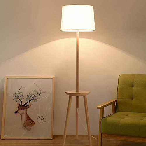 Sanqing Lámpara de pie de Madera Maciza de Tres Patas, lámpara de Mesa de Centro Moderna de Tela Lámpara de Almacenamiento de la Sala de Estar Dormitorio Estudio Decoración del hogar Lámpara de pie