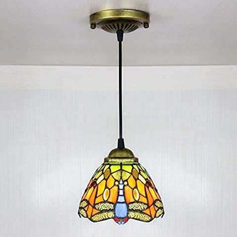BAYCHEER 16cm Vintage Dragonfly Stained Glass Tiffany Ceiling Lamp Pendant