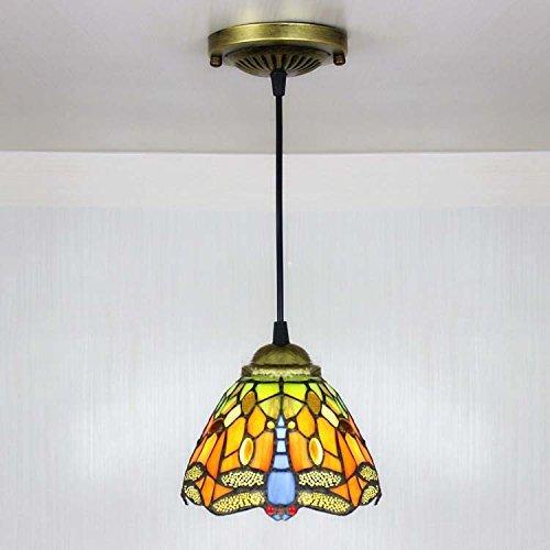 BAYCHEER Lustre Style Tiffany Lampe Libellule Rustique Suspension Abat-jour en Verre Eclairage Decoratif