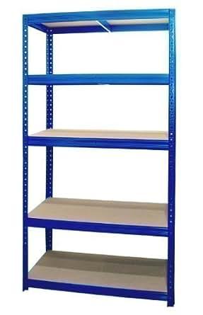 steckregal schwerlastregal lagerregal kellerregal regal 180x90x60 cm blau gewerbe. Black Bedroom Furniture Sets. Home Design Ideas