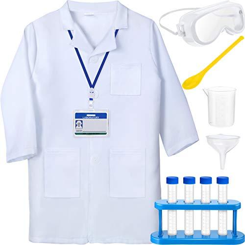 Wissenschaftler Kinder Kostüm - 11 Stücke Laborbrille Komplette Wissenschaftler Kostüm Sets für Kinder im Alter von 5 bis 10 Jahren, Unisex-Laborkittel für Kinder mit Verstellbaren Gläsern und Personalisiertem Ausweis als Versuchsap
