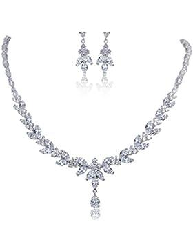 EVER FAITH® CZ Vintage Retrostil Blume Träne Form elegant Braut Halskette mit Ohrring Anhänger Schmuck-Set Klar...