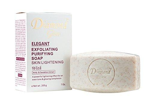 Diamond Glow Elegant Exfoliating Purifying Soap Skin Lightening with Amla & Dandelion Extracts 200g