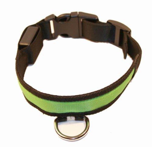 LED Hundehalsband Sicherheitshalsband 4 Farben 4 Größen (Grün, L 45-52 cm)