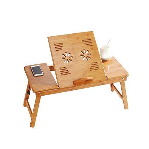 AJKCTebụl Kọmputa Na-Edozitragbarer Lernlaptoptisch Natürlicher Bambuslaptop-Tabellen-Schreibtisch-Justierbare Höhen-Klapptisch-Computer-Schreibtisch D5Ajkc