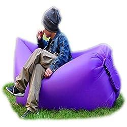 Trumpo - tumbona hinchable, saco de dormir, para interior, exterior, de aire, para dormir, como sofá, sofá cama, de nailon, impermeable, plegable, puf para descansar, para el verano, Camping, playa, pesca, morado