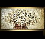 Orlco Kunst Hand bemalt Landschaft abstrakte Palette weiße Kirsche Blütenblatt Landschaft Ölgemälde Leinwand Familie Wand Wohnzimmer Kunst Stretch und gerahmt 24