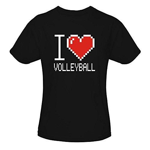 Idakoos I Love Volleyball Pixelated - Sport - Mädchen T-Shirt (T-shirt Volleyball Love)