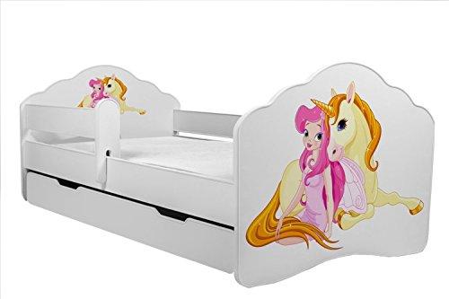 """Bett für Kinder \""""Einhorn\"""" Kinderbett Größe 140x70 cm mit einer Matratze, einer Schublade und einem Schutzgeländer"""