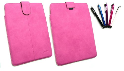 Emartbuy® Stylus Pack - Bundle Von 5 Stylus + Hot Pink PU Leder Secured Slide In Pouch/Case / Sleeve/Halter Mit Pull Tab Mechanism Geeignet Für Lenovo Ideatab S6000 (10-11 Zoll Tablet) Hot Pink Slide