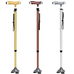 Zjsmm Zj-illuminated Non-slip Crutches Seniors Canes Telescopic Adjustable Mountaineering Sticks Three-foot Canes Aluminum Retractable Canes, Silver