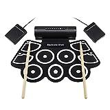 Set di pad USB digitali elettronici portatili Set di tamburi elettrici in silicone a tamburo a mano Set di tamburi elettronici a tamburo MD760 in silicone spesso Rotoli a mano su tamburi, neri