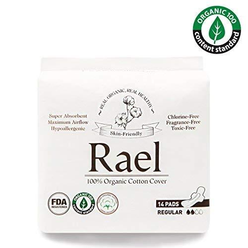 Rael Assorbenti mestruali regolari in 100% cotone biologico-assorbenti ultra sottili con ali