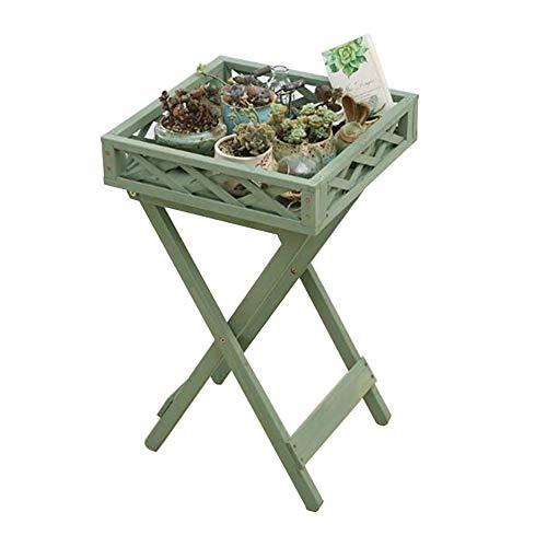 CJC Tables, Bois Massif Fleur Plantes Grasses Supporter Repliable Cosmétique Étagères Stockage Unité, Balcon Salon (Couleur : Vert)