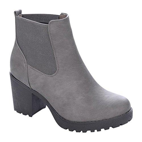 Damen Stiefeletten Ankle Boots Plateau Stiefel Schuhe B2 Grau