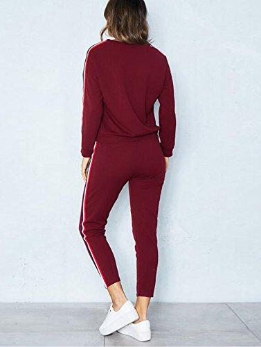 Donna Tuta Da Ginnastica 2 Pezzi Casual Sportiva Training Sets Vestiti Da Jogging Sportswear Manica Lunga Camicetta + Pantaloni Vino Rosso