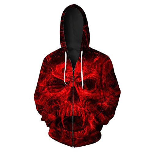 Scarlet Screaming Horror Skull Print Herren Hip Hop Zip Hoodies Coole Halloween Cardigan Jacken KU3047 5XL (Mädchen Screaming Halloween)
