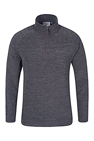 Mountain Warehouse Snowdon Mens Micro Fleece - Breathable, Quick Drying, Anti-Pill, Soft & Smooth Micro Fleece Fabric - Great for Layering Charcoal X-Large