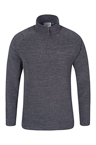 Mountain Warehouse Mens Casual Half Zip Antipill Microfleece Walking HIking Snowdon Fleece Top Charcoal Medium
