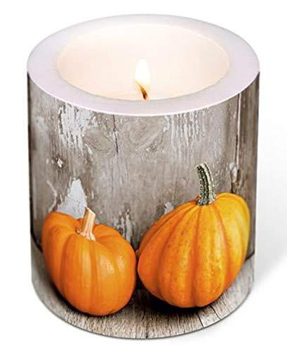 Kerze XXL Stumpenkerze Herbst Kürbisse 10 cm hoch Hochzeit Frühling Sommer in Folie Verpackt, Lange Brenndauer